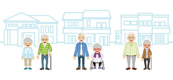 Three Senior couple and houses Royalty Free Stock Image
