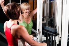 Three senior people in gym royalty free stock photos