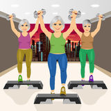 Three senior women doing aerobic exercises at gym Royalty Free Stock Photography