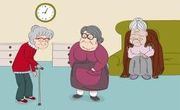Three senior women, old ladies, cute grandmothers in the senior rest house. Original hand drawn illustration. Three senior women, old ladies, cute grandmothers royalty free illustration