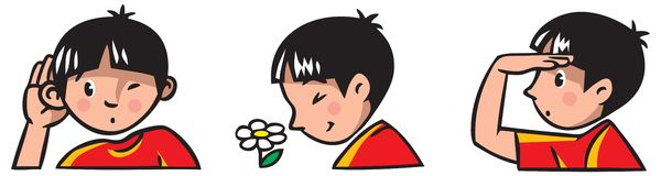 Three senses. Children vector illustration of boy. Icons of three senses - hearing, sight, smell Royalty Free Stock Photo