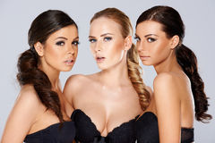 Three sensual beautiful young women Stock Photography