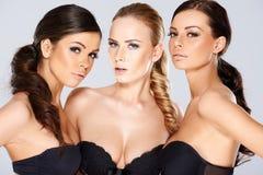 Three sensual beautiful young women Stock Photos