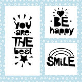 Three sentences on black background of stars and spirals. Be happy. You are the best. Smile. Stock Photo