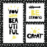 Three sentences on black background of stars and spirals. Be strong. You are beautiful. Great. Royalty Free Stock Photos