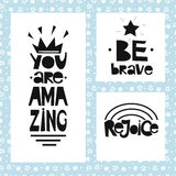 Three sentences on blue background of stars and spirals. Be brave. You are amazing. Stock Image