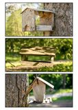 A triptych of bird boxes royalty free stock image