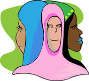 Three Serene Muslim Women In Meditation. Three beautiful Muslim women smiling with eyes closed in meditation or prayer Stock Photo