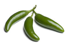 Three Serrano Peppers Stock Photos