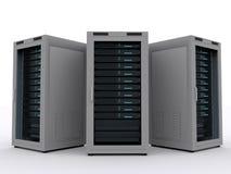 Three Server Racks Royalty Free Stock Photos