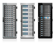 Three Servers - Server in Cabinets Stock Image