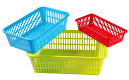 Three set colors and sizes plastic boxes for household storage Stock Images