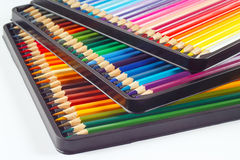 Three sets of color pencils in pencil box Royalty Free Stock Images
