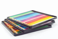 Three sets of color pencils in pencil case Stock Photography