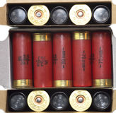 Three sets of Shotgun cartridge of 12 gauge, rifle ammo Stock Images