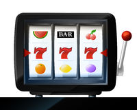 Three seven signs on play machine frame vector Royalty Free Stock Photography