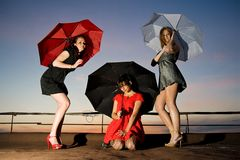 Three sexy chicks with umbrellas posing. Attractive young women in short dresses on the roof Royalty Free Stock Photos