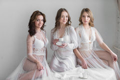 Three sexy girls brides in lingerie Royalty Free Stock Photography