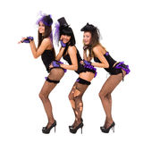 Three sexy women wearing black lingerie Stock Photos