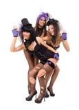 Three sexy women wearing black lingerie posing Stock Photos