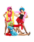 Three Sexy Young Women in Costumes are on Bachelorette Party Royalty Free Stock Images