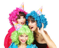 Three Sexy Young Women in Costumes are on Bachelorette Party Stock Image