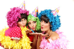 Three Sexy Young Women in Costumes are on Bachelorette Party Stock Images