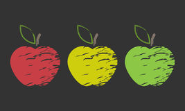 Three shaded apple. Three abstract apple in three different colors Royalty Free Stock Image