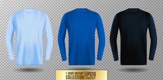 Three shades of light, normal and dark blue long sleeve t-shirt. Vector mock up. Three shades of light, normal and dark blue long sleeve t-shirt collection Stock Image