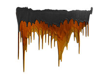 Three shades of orange and black paints dripping. Isolated on white background royalty free stock photos