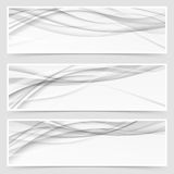 Three shadow swoosh header set layout. Web grey abstract wave pattern banner collection. Vector illustration Stock Photo