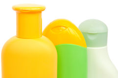 Three Shampoo Bottles. Isolated on white Stock Photo