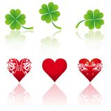 Three and shamrock, vector Royalty Free Stock Images