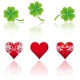 Three and shamrock, vector. Three hearts and three shamrocks, vector illustration Royalty Free Stock Images