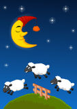 Three sheep cartoon jumping over the fence Royalty Free Stock Photography