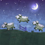 Three sheep  jumping over the fence. Royalty Free Stock Image