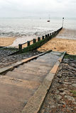 Three Shells Beach. Rainy weather, Three Shells Beach (Southend-on Sea, Essex Stock Image