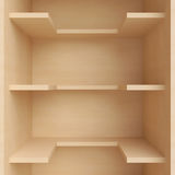 Three shelves on the wall. Stock Photo