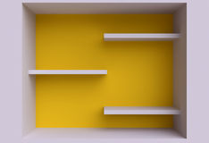 Three shelves on the wall. Royalty Free Stock Photo