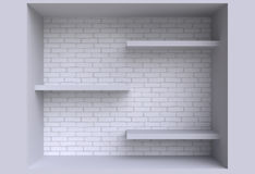 Three shelves on the wall. Royalty Free Stock Images