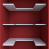 Three shelves on the wall. Royalty Free Stock Photos