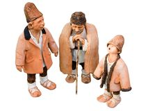 Three shepherds. Puppets handmade, isolated and with clipping path stock photography