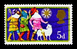 The Three Shepherds, Christmas 1969 - Traditional Religious Themes serie, circa 1969. MOSCOW, RUSSIA - OCTOBER 3, 2017: A stamp printed in Great Britain shows Royalty Free Stock Photo
