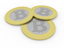 Three bitcoins Royalty Free Stock Photography