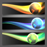 Three Shiny lighting Globe header/banner Royalty Free Stock Image