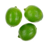 Three Shiny Limes Top View Royalty Free Stock Photos