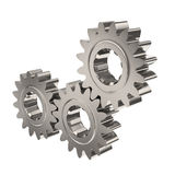 Three shiny nickel gears. Meshing together on white background Stock Photos