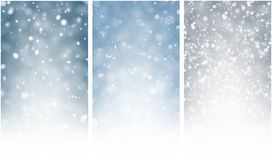 Three shiny winter backgrounds with snow. Three grey and blue shiny winter backgrounds with snow. Vector illustration Royalty Free Stock Photos