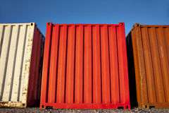 Three shipping containers Royalty Free Stock Photos