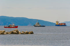Three ships near port Stock Photography